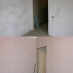 шпатлевание стен под обои , поклейка обоев